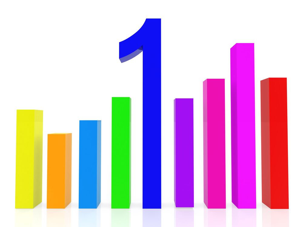 Colorful data graph with bars - isolated over white